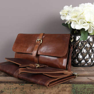 The Leather Store Robin Leather Clutch Bag With Buckle