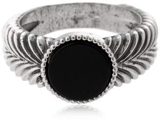 Emanuele Bicocchi Slim Herringbone Stone Silver Ring