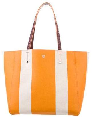 MCM Striped Canvas Tote w/ Tags