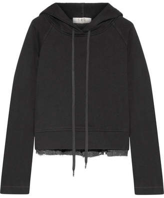 Sea Cotton-jersey And Fil Coupé Chiffon Hooded Top - Black