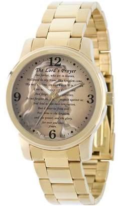 Generic Men's The Lords Prayer Religious Bracelet Watch, Gold