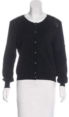 Belstaff Leather-Trimmed Silk Knit Sweater
