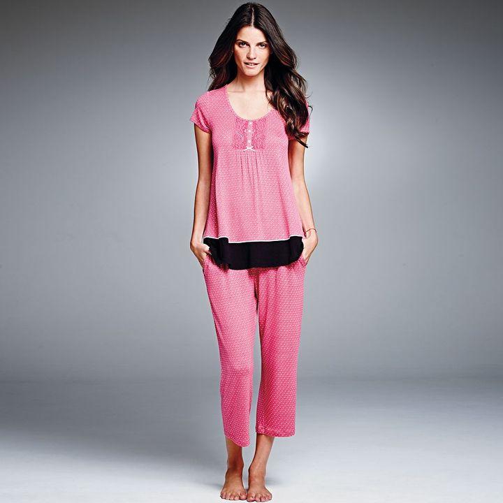 Vera Wang Simply vera pajamas: spring awakening lace-trim pajama set - women's