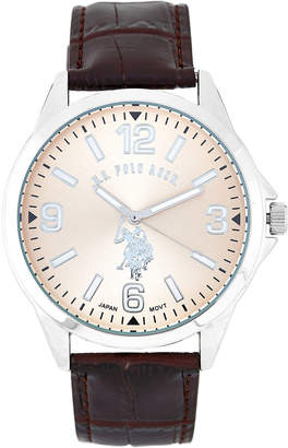 U.S. Polo Assn. USC50006 Silver-Tone & Brown Croc-Embossed Watch