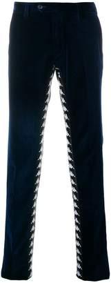 Paura logo velvet slim-fit trousers