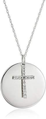 Sterling Silver Topaz Cross Lord's Prayer Pendant Necklace