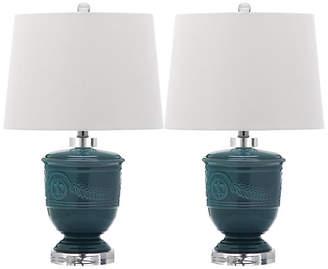 One Kings Lane Set of 2 Shoal Table Lamps - Blue
