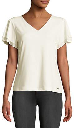 Calvin Klein Flutter Sleeve Knit Top