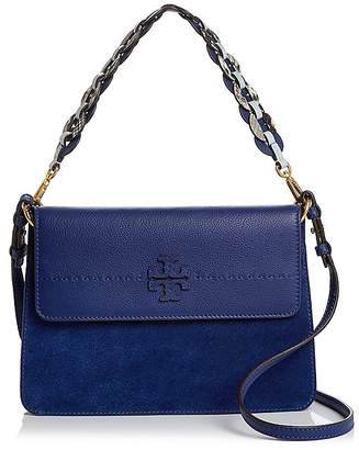 Tory Burch McGraw Suede & Leather Mixed Strap Shoulder Bag