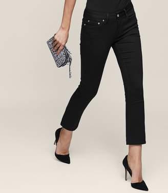 Reiss Faye Black Cropped Kick-Flare Jeans