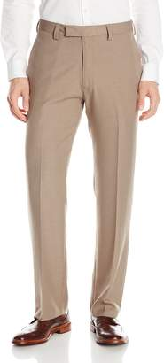 Haggar Men's Look Sharp Heathered Textured Dress Pant Straight Fit Flat Front