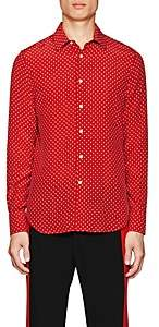 Alexander McQueen Men's Mini-Skull-Print Silk Shirt - Red