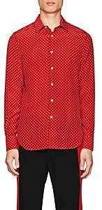 Alexander McQueen Men's Mini-Skull-Print Silk Shirt - Red