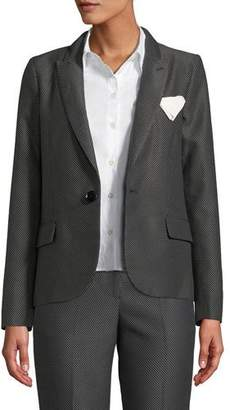 Emporio Armani One-Button Diamond-Jacquard Jacket