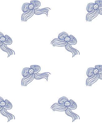 Lulu & Georgia Bows Wallpaper by Clare V., Blue