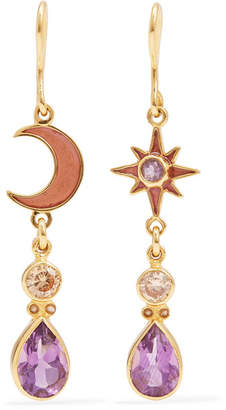 Papi Percossi Gold-plated And Enamel Multi-stone Earrings - Purple
