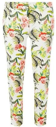 Dorothy Perkins Womens Ivory Tropical Print Ankle Grazer Trousers