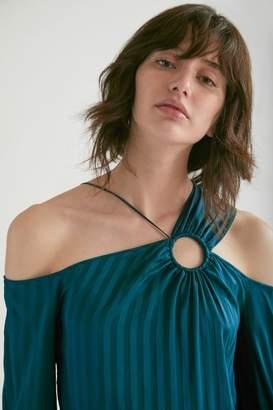 Yigal Azrouel Bias Stripe Silk Cold Shoulder Top