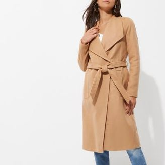 River Island Womens Camel belted robe coat
