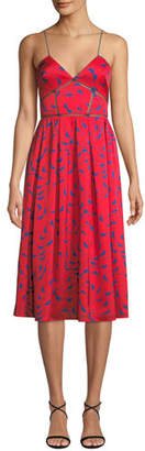 Self-Portrait Azaelea Printed Sleeveless Midi Dress