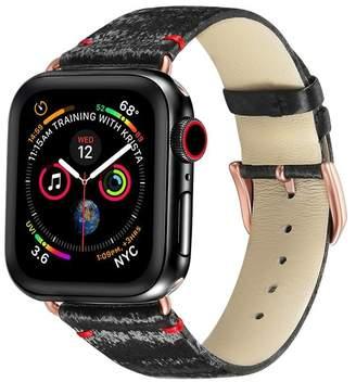 POSH TECH Black/Rose Gold Silk & Leather 42mm Apple Watch 1/2/3/4 Band