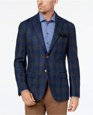 Tallia Men's Big & Tall Slim-Fit Blue Plaid Sport Coat