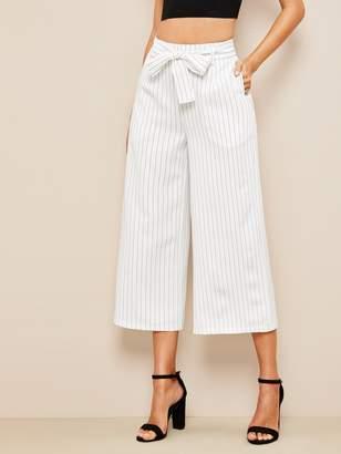 Shein Vertical Striped Belted Wide Leg Crop Pants