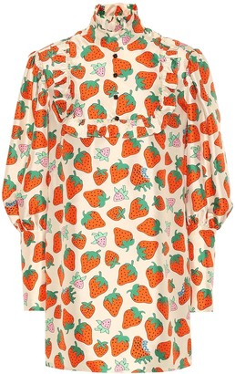 Gucci Strawberry-print silk blouse