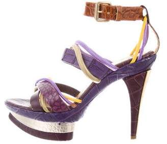Just Cavalli Embossed Platform Sandals