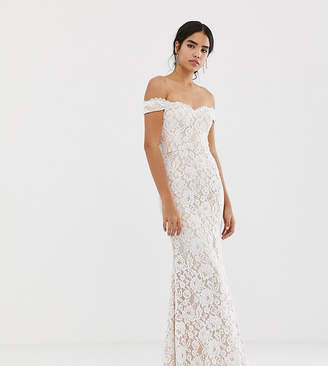 Jarlo all over lace bardot maxi dress in white