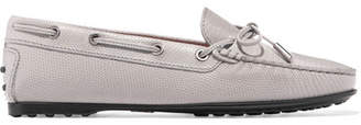 Tod's Gommino Lizard-effect Leather Loafers - Gray
