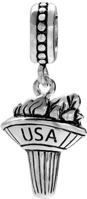 """Individuality Beads Sterling Silver """"USA"""" Olympic Torch Charm"""
