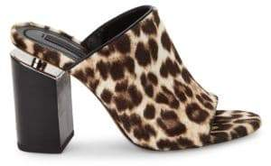 Alexander Wang Avery Leopard Calf-Hair Mule Sandals/3.25""