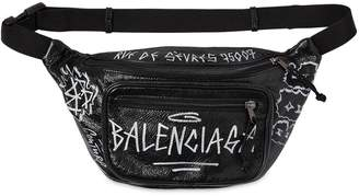Balenciaga Graffiti Printed Leather Belt Bag