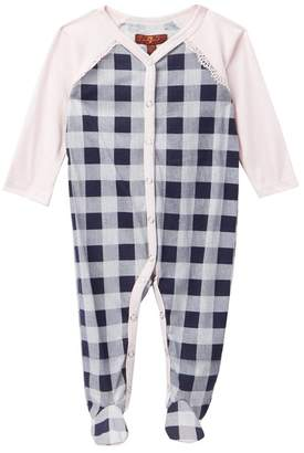 7 For All Mankind Gingham Footie (Baby Girls)
