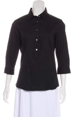Burberry Collared Three-Quarter Sleeve Top Black Collared Three-Quarter Sleeve Top