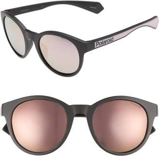 01d4cbd669f Polaroid Eyewear 52mm Polarized Mirrored Round Sunglasses