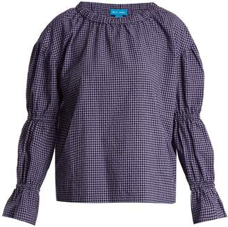 MiH Jeans Long-sleeved gingham cotton-blend top
