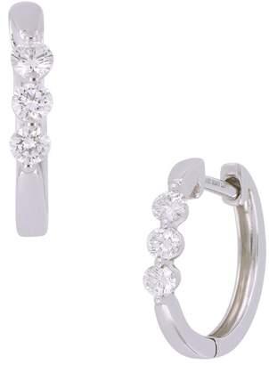 6f0b69773 Bony Levy 18K White Gold Shared Prong Set Diamond Huggie Hoop Earrings - 0.25  ctw