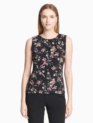 Calvin Klein matte jersey floral pleat neck cami top