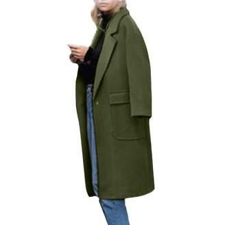 ASTV-Women Jacket Womens Winter Lapel Wool Coat Jacket Big Pocket Overcoat Outwear Cardigan,XXXL
