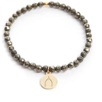 Eff.Y.Bee eff.Y.bee Mini Bliss Pyrite Beaded Wishbone Charm Bracelet