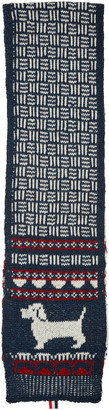 Thom Browne Navy Knit Hector Scarf $225 thestylecure.com