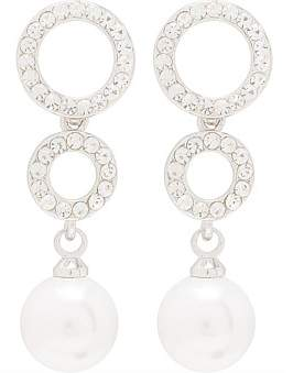 Gregory Ladner Double Cz Circle With Pearl Drop
