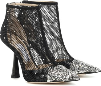 Jimmy Choo Kix 100 embellished mesh ankle boots