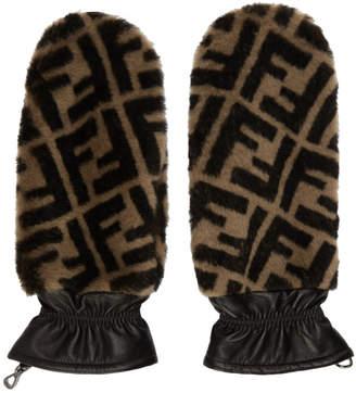 Fendi Black and Brown Fur Forever Gloves