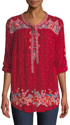 Johnny Was Gina Tie-Neck Embroidered Blouse, Plus Size