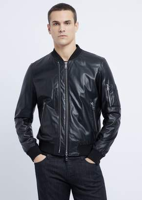 Emporio Armani Soft Nappa Leather Bomber Jacket With Embroidered Logo On The Back