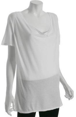 Monrow white jersey drape neck tunic