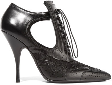Givenchy - Cutout Ankle Boots In Black Leather And Lace